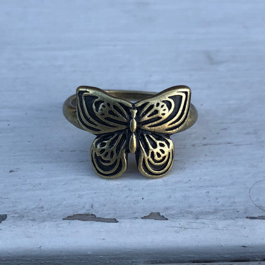 Butterfly Antique Gold Wrap Ring