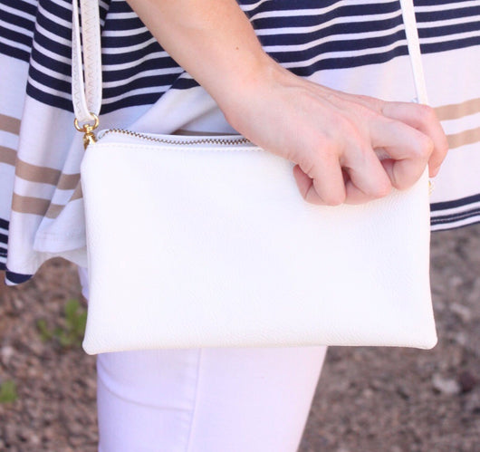 Lizzy White Crossbody/Clutch Bag by Caroline Hill