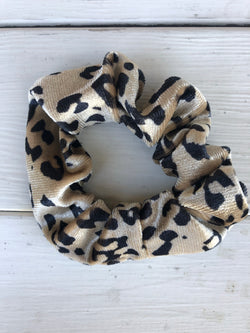 Black & Cream Leopard Print Soft Fabric Scrunchy