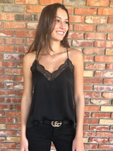 Black Textured Spaghetti Strap Lace Trim Cami
