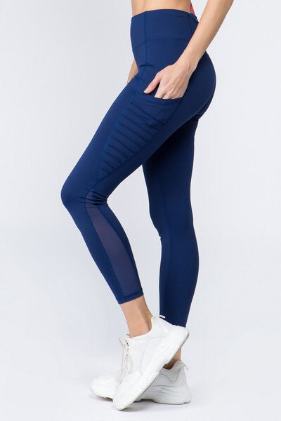 Navy Blue High Waist Mesh Sides w/Moto detail Legging
