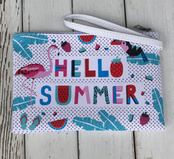 Hello Summer Flamingo Tropical Pouch w/zipper & wristlet   Our handbag collection is one of a kind. Looking for the perfect summer clutch, summer tote or handbag, we have what you are looking for.  Ships from the USA, unique style, fun fashion trends, summer bags, flamingo and tropical