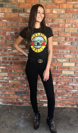 Guns N Roses Vintage Distressed Roses & Pistols Slim Fit Band T-Shirt