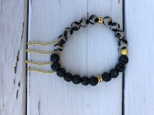 Handmade Beaded Bracelet - Black lava & blk/wht bead w/gold chains
