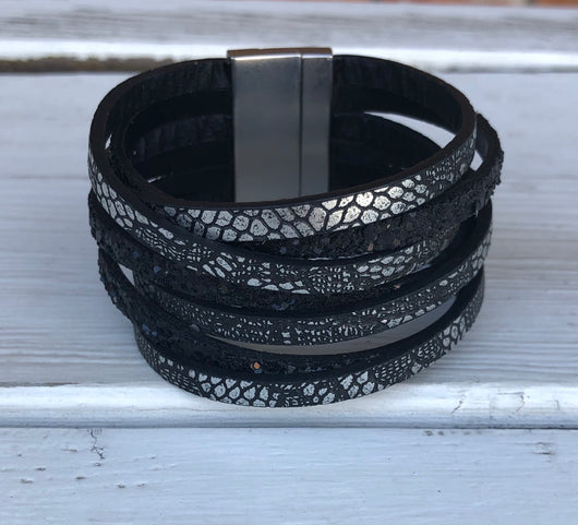 Black Snakeskin Cuff Bracelet with Magnetic Closure