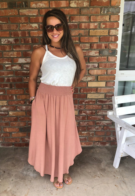 Clay Pre-washed Woven Maxi Skirt w/Smocked Waistband & Pockets