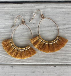 Gold Loop Fish Hook Earrings with Mustard Tassels