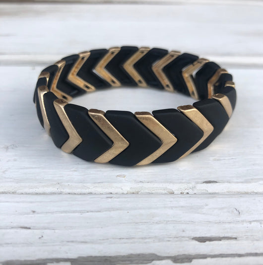Black & Gold Chevron Stretch Bracelet