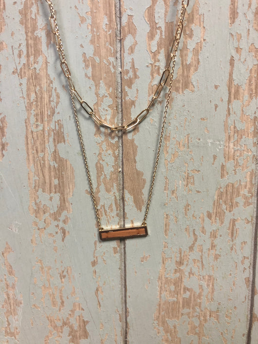Gold Layered Wood Bar Necklace and Chain