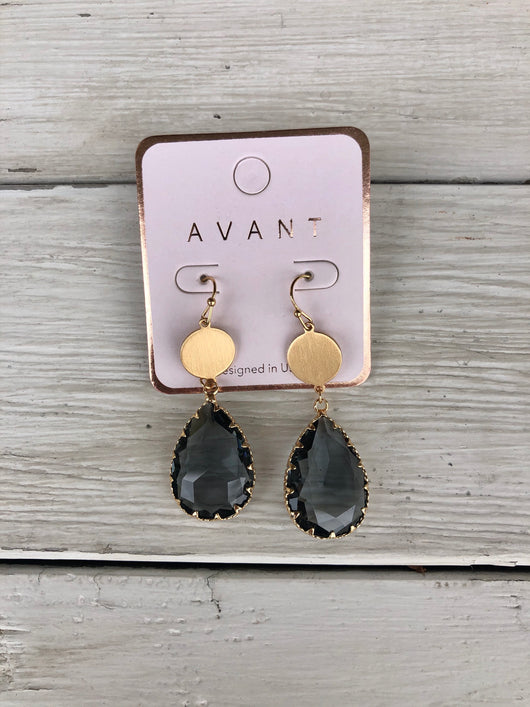 Charcoal Glass Teardrop Earrings with Round Gold Post