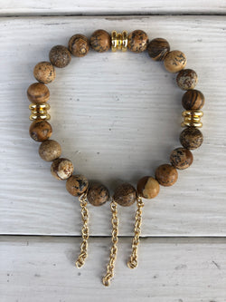 Handmade Beaded Bracelet - Brown Beads with Gold Spacers and 3 Gold Chains