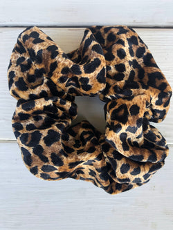 Black & Brown Leopard Print Soft Fabric Scrunchy