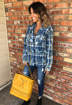 Blue & Yellow Washed Out Plaid Flannel with Snap Closure by Lovestitch