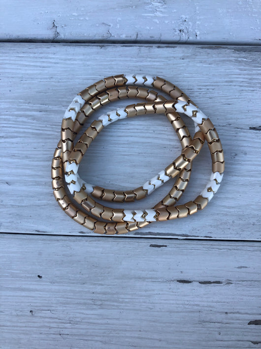 Gold & White Mix Set of 3 Stretch Bracelets