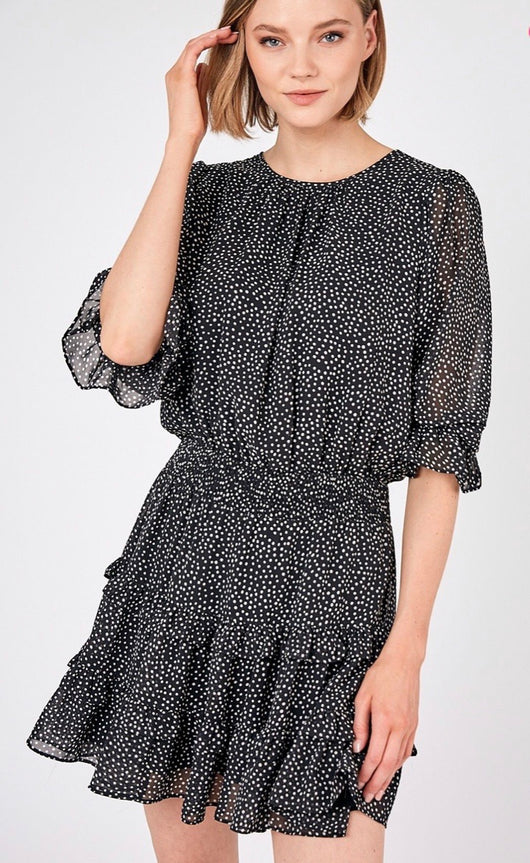 Black with White Polka Dots Ruffle Dress