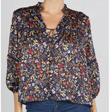 "Prairie Midnight/Marigold Floral Print 3/4"" Sleeve Boho Blouse with Tassel Tie"