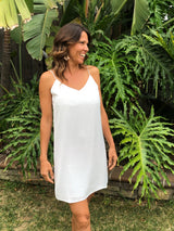 White Shift Dress w/spaghetti straps by Naked Zebra  Shop OC Social Butterfly's maxi dresses, shirt dress or ribbed tank dress. Check out our latest stylish dresses and skirts.  Ships from the USA  100% Polyester unique style, engagement dress, summer look, cool casual, flirty dress,