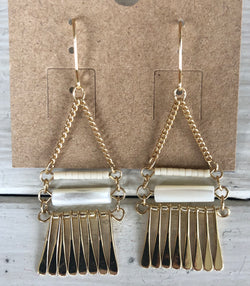 Gold Chandelier Earrings with Pearl Bars