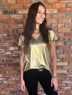 Metallic Gold V-Neck Short Sleeve Top by Ellison