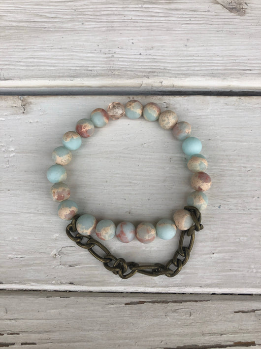 Handmade Beaded Bracelet - Ocean Blue & Sand Beads w/Brass Chain