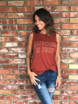 Happiness is Free Rust Draped Tank by Brokedown Clothing  Take your outfit to the next level with OC Social Butterfly's hand selected, specially curated stylish tops. Shop dressy, casual and work related.  Ships from the USA, casual style, fashion trends, unique style