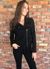 Ellie Suede Moto Jacket w/zipper and Pockets