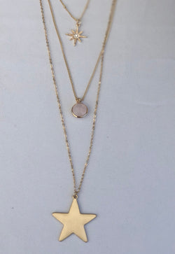 Gold 3Multi-Layer Necklace w/Shining Star, Light Pink Stone and Large Star