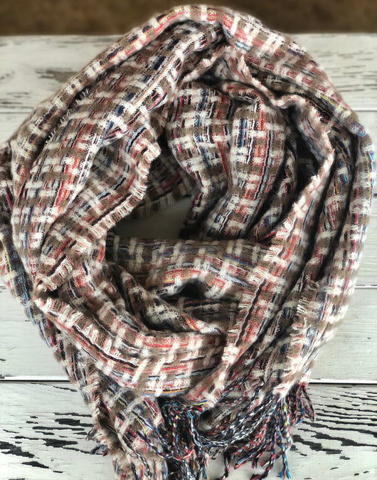 Brown, Red, Black Mix Knit Scarf with Fringe