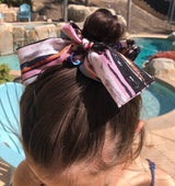 Colorful Stripe Top Knot Hair Scrunchie