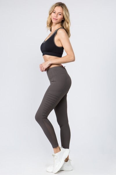 Charcoal Active High Waist Mesh Sides w/Moto detail Leggings Pants