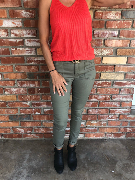 Dusky Green Mid-Rise Ankle Skinny Stretch Pant w/Pockets by Celebrity Pink