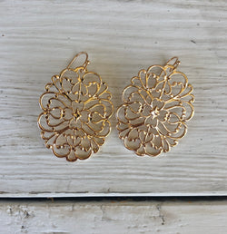 Gold Floral Filigree Fish Hook Earrings