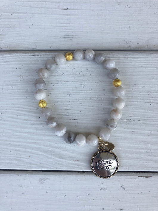 Handmade Beaded Bracelet - Pearl Beads w/Gold Ball and Mom Silver & Gold Charm