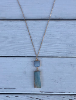 Long Gold Necklace with Small Square & Rectangle Blue Wave Stone