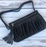 Black Fringe Crossbody Purse