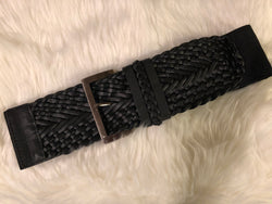 Black Weaved Thick Stretch Belt - OC Social Butterfly