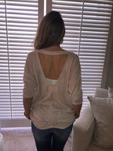 Oatmeal Knit V-neck W/Open Back