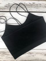 Black Ribbed Spaghetti Straps Crop Top OS fits most