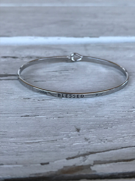 Blessed w/Arrow Bangle Bracelet - Silver