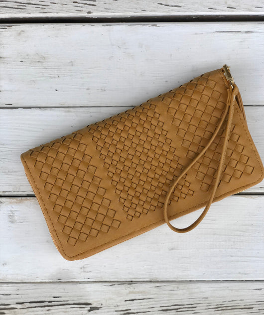 Camel Lattice Weaved Pattern Wallet/Wristlet