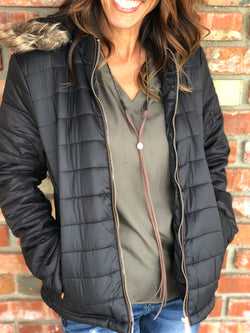 Black Padded Jacket w/removable fur hood and zipper and button up. Take your outfit to the next level with OC Social Butterfly's hand selected, specially curated outerwear. You can't go wrong a great flannel, jean jacket or comfy vest.  Ships from the USA, unique style, fall fashion, jacket, outerwear, casual look