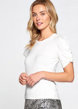 Off White Short Sleeve Top with Ruffled Sleeve Detail