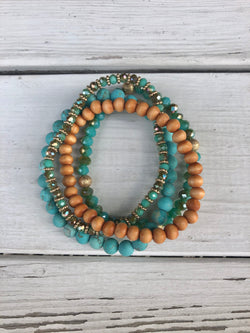 Turquoise, Natural and Gold Set of 4 Stretch Beaded Bracelets