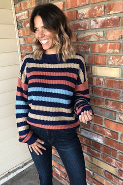 Colorful & Navy Blue Stripe Knit Sweater