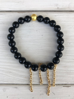 Handmade Beaded Bracelet - Shiny Black Beads with 4 Gold Chains