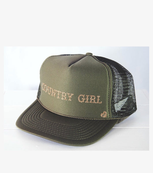 Olive Green Country Girl Adjustable Trucker Hat by Mother Trucker & co  Take your outfit to the next level with OC Social Butterfly's accessory collection. We feel you can never go wrong with adding hat to your look. Check out our MotherTrucker hats and our Summer Floppy Hats.  Ships from the USA, unique style, fashion trends, popular hats, country fashion, stagecoach festival fashion