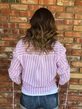 Rose Striped Button Blouse w/cinched Sleeve