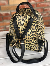 Fashionable Leopard Print Backpack w/Front Pocket and Adjustable Straps