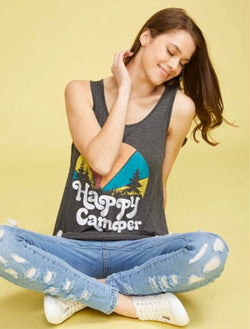 Happy Camper Charcoal Grey Tank by Lovely Souls