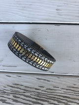 Grey & Gold Magnetic Bracelet with Chevron Stitching